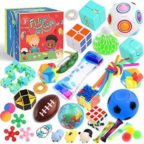 PP PHIMOTA Sensory Toys Set 38 Pack, Stress Relief Fidget Hand Toys for Adults and Kids, Sensory Fidget and Squeeze Widget for Relaxing Therapy - Perfect for ADHD Add Anxiety Autism