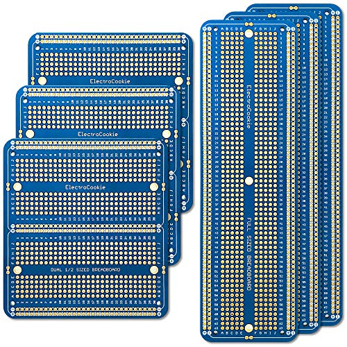 ELECTROCOOKIE Large PCB Prototype Board Kit Solderable Breadboards for Electronics Projects Compatible for DIY Arduino Soldering Projects, Gold-Plated (6 Multi-Pack, Blue)