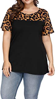 Women's Plus Size Top Leopard Print Lemon Tops Summer Casual Loose Short Sleeve T Shirts