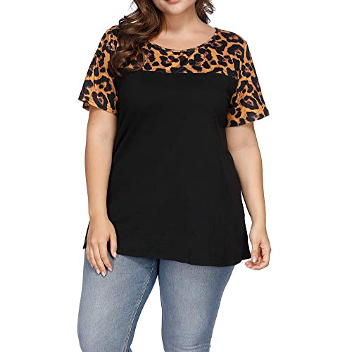 3a5bf816780 Allegrace Women s Plus Size Casual Leopard Print Patchwork Top Loose Short  Sleeve T Shirts