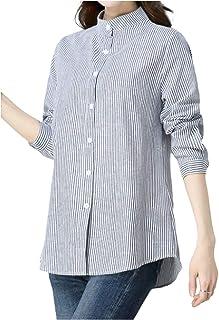 [エムエルーセ] カジュアル ボーダー シャツ 長袖 七分袖 清涼 爽やか 前 ボタン 長袖 春夏 夏 夏物 涼しい 2カラー M - 2XL レディース