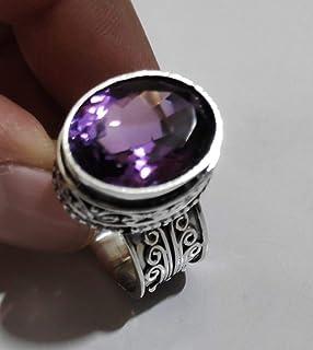 Anello in argento con ametista, anello, anello con gemma, anello in argento, anello fatto a mano, anello in argento massic...