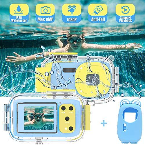 Cámara para Niños Cámara Impermeable para Niños Full HD 1080P Cámaras Digitales para Niños Recargable Camara Acuatica...