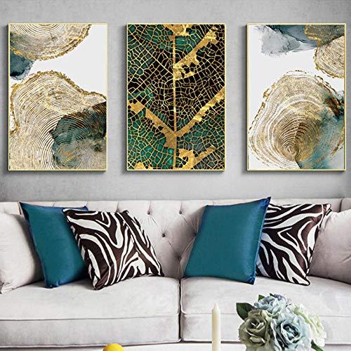 Rayas Doradas Arte de la Pared Hojas y Troncos Lienzos Carteles Texturas abstractas Pinturas nórdicas Vida Moderna Decorativa 40x60cmx3 Sin Marco