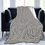 alice-shop Raster Geometric Monochrome Ultra-Soft Cozy Micro Fleece Blanket, Ideal para Viajes de Oficina en dormitorios