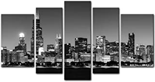 Wall Art Decor Poster Painting On Canvas Print Pictures 5 Pieces Panoramic View of Chicago Skyline at Night in Black and White Place Cityscape Framed Picture for Home Decoration Living Room Artwork