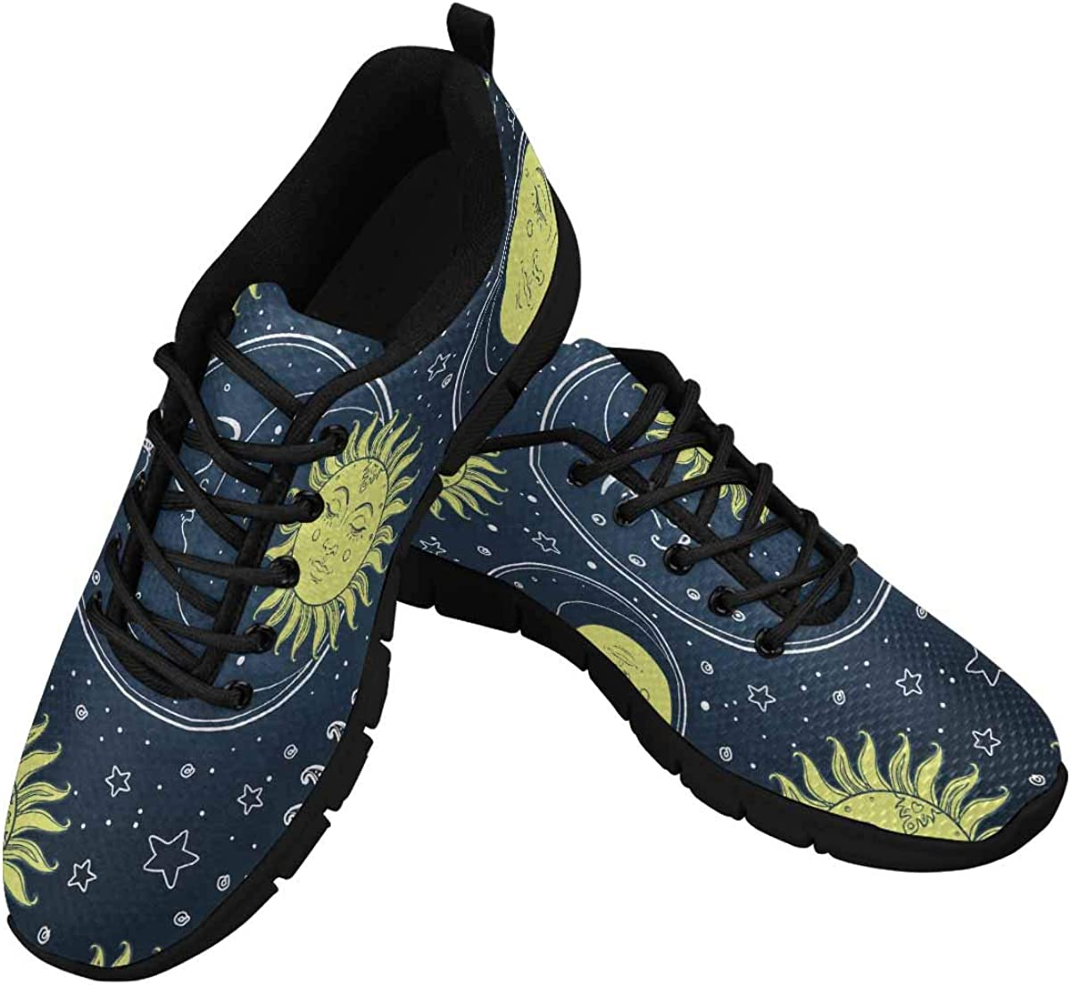 InterestPrint Sun and Moon Stars Golden Women's Athletic Walking Shoes Comfort Mesh Non Slip