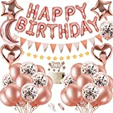 SPECOOL Decoración de cumpleaños en Oro Rosa, con Topper Feliz Cumpleaños, Happy Birthday Banner, Corazón de la Estrella Confeti Globos de Látex para Boda Fiesta de cumpleaños para Mujeres Masculino