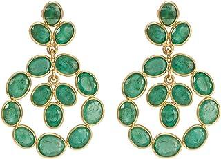Gehna 18k Yellow Gold and Emerald Drop Earrings for Women