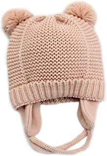 Baby Beanie Earflaps Hat - Infant Toddler Girls Boys Soft Warm Knit Hat Kids Winter Hat with Fleece Lining