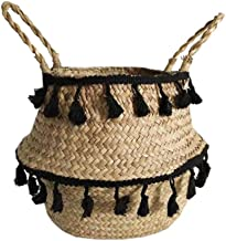 Handmade Bamboo Storage Baskets Seagrass Wicker Basket Garden Flower Pot Laundry Basket Container Toy Holder with White Ta...