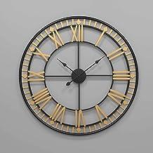 ETH wall clock European Style 80cm Metal Round Big Wall Clock Creative Wrought Iron Clock Home Living Room Clock (Color : ...