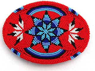 Handmade Beaded Indian Jewelry Red Blue Black Star Classic Cowboy Classic& Western Geometric Bead Work Belt Buckle