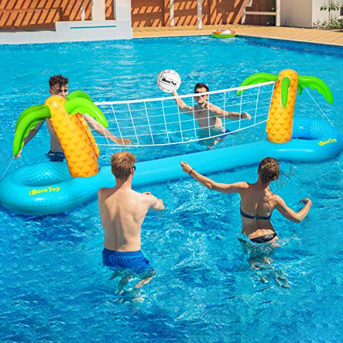 iBaseToy Inflatable Pool Volleyball Game Set - Pool Volleyball Set with Adjustable Net and 2 Balls for Swimming Pool Games, Pool Float Set Pool Volleyball Toy for Adults and Kids (118'x25.59'x33.46')