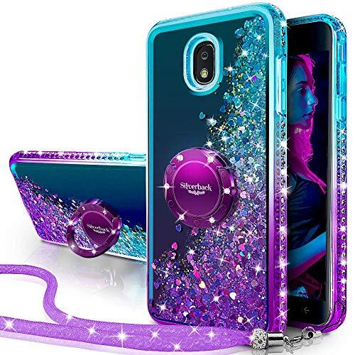 Miss Arts Funda Galaxy J3 2017,[Silverback] Carcasa Brillante Purpurina con Soporte giratorios, Transparente Cristal Bumper Telefono Fundas Case Cover para Samsung Galaxy J3 2017 -PÚRPURA