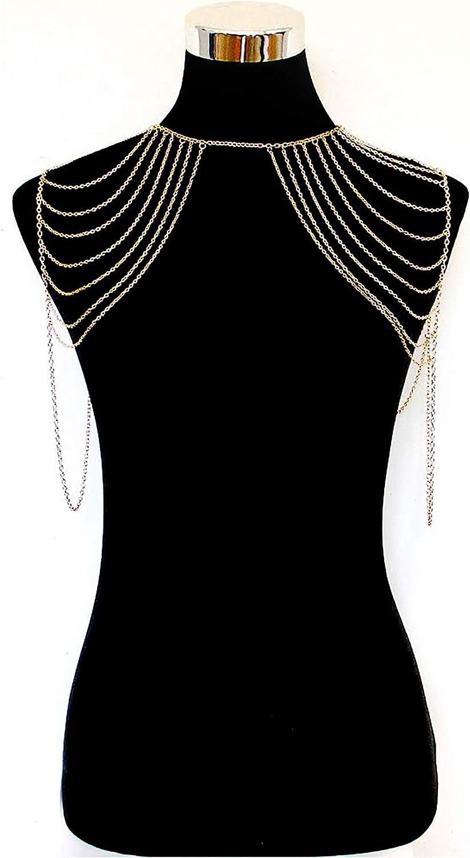 Body Shoulder Chain Multilayered Sexy Gold Tassels Link Harness Necklace Fashion Jewelry Belly Waist Bra Boho Hot Bikini Beach Birthday Anniversary Festival for Women Girls a002