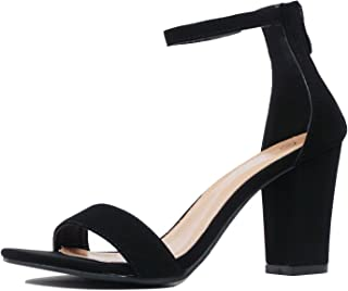 Womens Ankle Strap Chunky Block High Heel Zipper Closure - Party Dress Open Toe Sandals