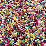 Outuxed 1500 Stück 4mm Bunte künstliche Perlen Runde Perlen Perlen Basteln geeignet für Schmuckherstellung und Heimwerken Halskette Armband von den Kindern