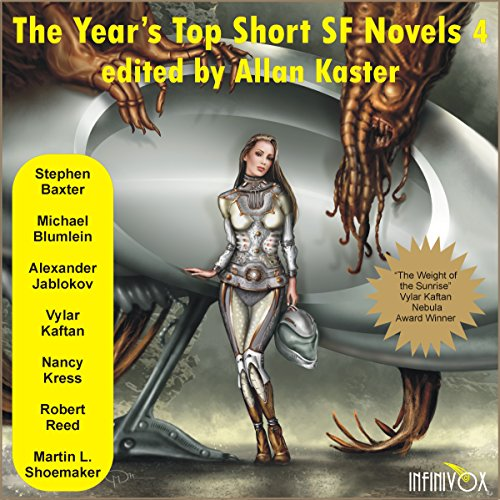 The Year's Top Short SF Novels 4                   By:                                                                                                                                 Stephen Baxter,                                                                                        Michael Blumlein,                                                                                        Alexander Jablokov,                   and others                          Narrated by:                                                                                                                                 Tom Dheere,                                                                                        Jared Doreck,                                                                                        Nancy Linari                      Length: 16 hrs and 3 mins     16 ratings     Overall 3.4