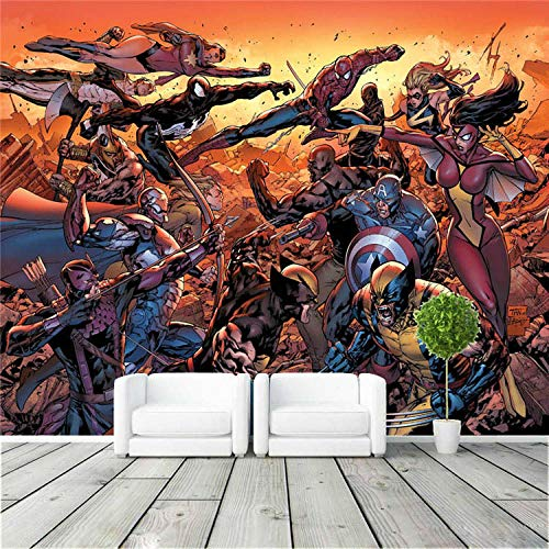 RQWBH Selbstklebende Tapete 3D Wandbild (B) 520X (H) 290Cm Cartoon Film League Fototapete Film Wandmalerei Film Comic Tapete Superheld Raumdekoration Große Wandkunst Kinderzimmer Schlafzimmer