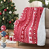Christmas Throw Sherpa Blanket 50' x 60' Snowflake Pattern, Super Soft Fluffy Sherpa Throw TV Blanket Decorative Blanket for Bed Couch Holidays Red