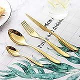 Set de Cubiertos 16 Piezas, Cuchillo para Filete Tenedor Cubiertos Cuchillo de Acero Inoxidable 304 Cuchillo Tenedor Cuchara Set para Bodas, Festivales, Hotele