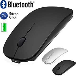 Ratón Inalámbrico Bluetooth para Laptop/Macbook/iPad/iPhone (iOS 13.1.2 y posterior)/PC/Computer/Android Mini Ratón Silencioso Recargable para Windows/Linux/Mac 3DPI Ajustable Bluetooth4.0 +2.4G Negro