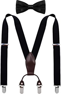 SUNNYTREE Boys Suspenders Bow Tie Set Adjustable Leather Y Back with 4 Clips