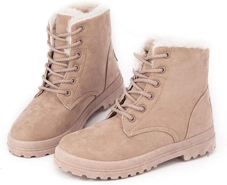 Women Boots Warm Round Toe Flat Lace-Up Snow Boots Women Ankle Winter Boots Short Plush Women shoes