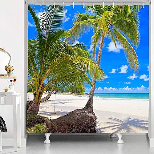RHDORH Kokosnuss-Duschvorhang Ozeanblau Himmel Weiß Wolken Hawaii Strand tropische Pflanzen Schatten Resort Atmosphäre Polyestergewebe Wasserdicht Badvorhang-Set mit Haken 183 x 183 cm YLLMDO25