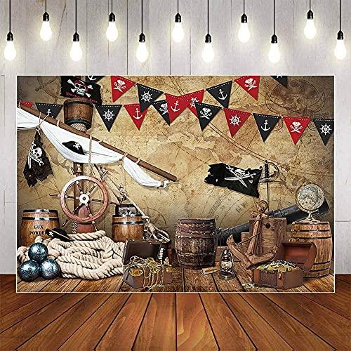Fondo de fotografía náutica Barco Pirata Cubierta Volante Bandera Niño Niño Fiesta de cumpleaños Telón de Fondo Estudio fotográfico A1 5x3ft / 1.5x1m