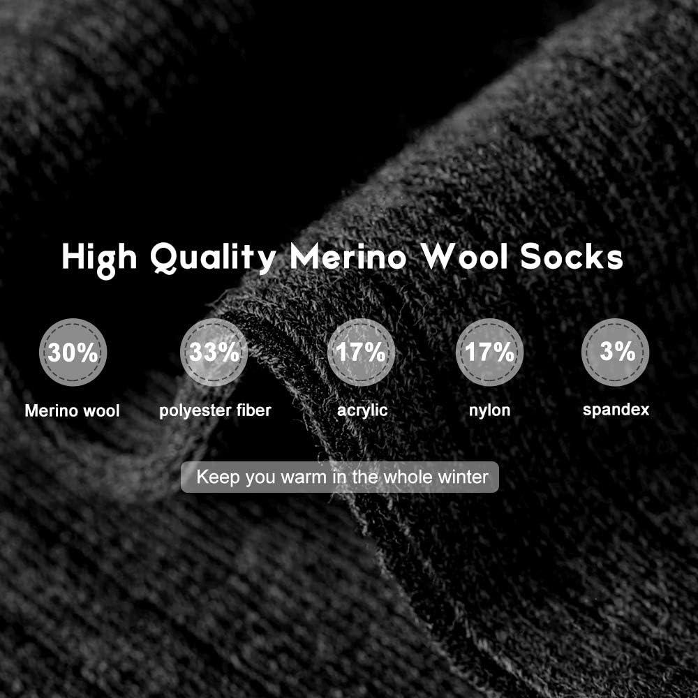 Bloggerlove Merino Wool Socks 3 Pairs Black Winter Warm Athletic Hiking Running Cycling Socks for Men /& Women