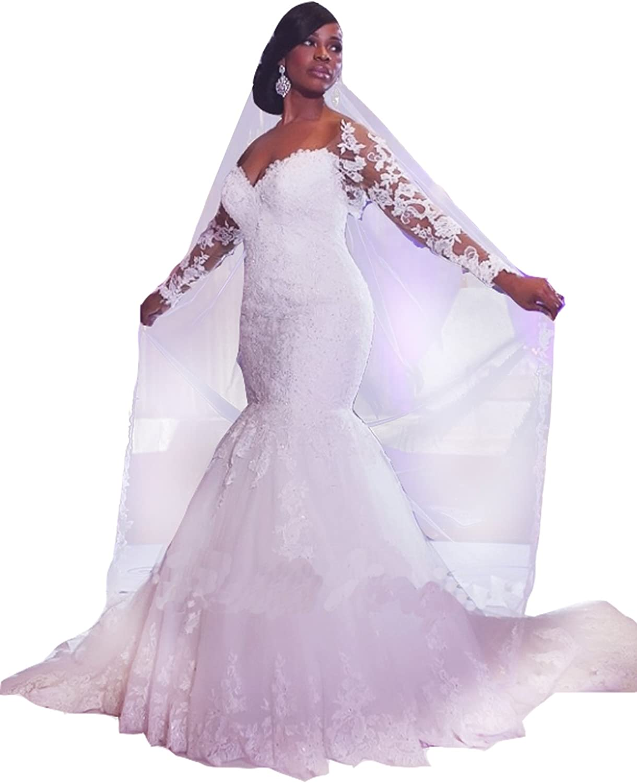 Diandiai Women Long Sleeve Lace Wedding Dresses Plus Size Mermaid Wedding Dress