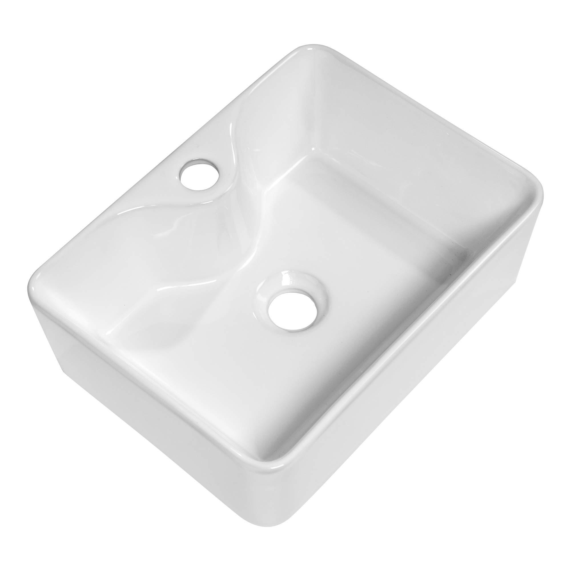Vessel Sink Rectangular Kichae 16 X12 Modern Bathroom Rectangle Above Counter White Porcelain Ceramic Vessel Vanity Sink Art Basin With Faucet Hole