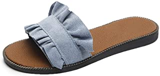 xsby Womens Soft Open Toe Slip on Flat Slide Sandals