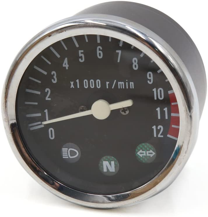 uxcell 0-12000r min El Paso Max 77% OFF Mall Round Shape Analog M GN Tachometer Gauge for