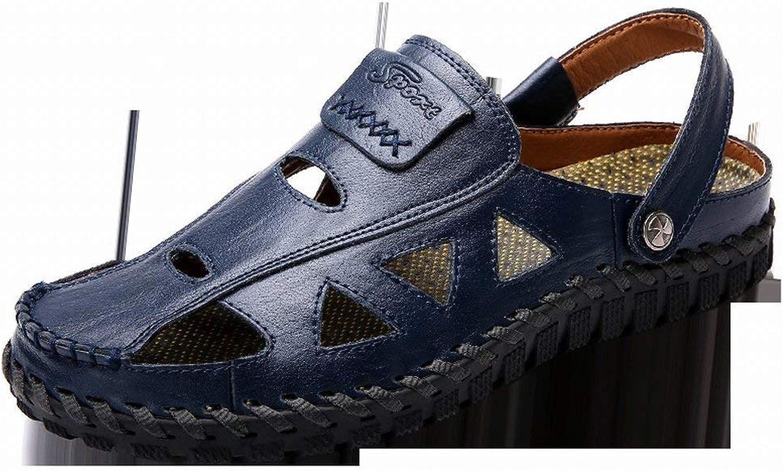 Fuxitoggo Fashion Handsewn Sandals Soft Leather Casual Men's shoes Men's shoes (color   bluee, Size   39)