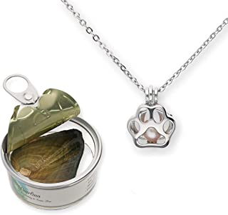 Paw Print Cultured Pearl in Oyster Necklace Set Silver-Tone Pendant w/Stainless Steel Chain 18