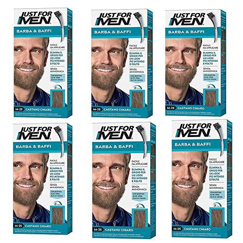 Just For Men Lot de 6 teintures pour homme permanentes avec pinceau sans ammoniaque châtain clair M 25 2 x 14 ml Gel coloré