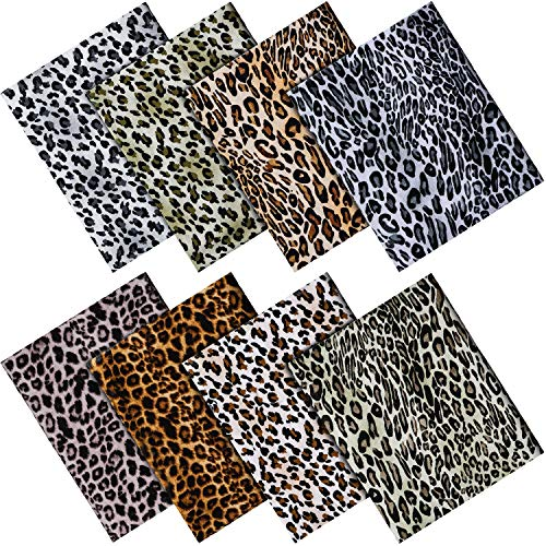 8 Pieces 18.8 x 16.5 Inch Leopard Pattern Rayon Cotton Fabric Sewing Quilting Patchwork Printed Craft Bundles Handmade DIY Leopard Cloth Rayon Cotton Leopard Fat Quarter for DIY Accessories