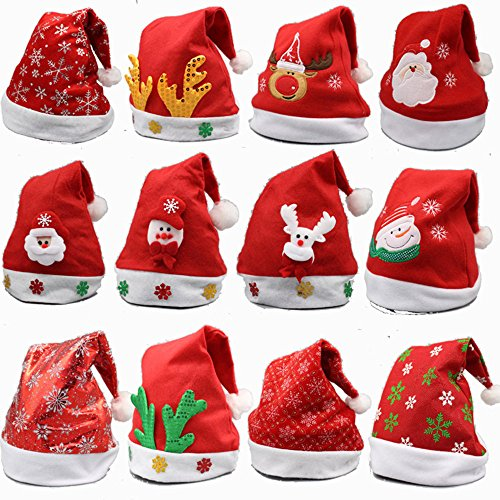 YAMULA 8 Pack Christmas Hat for Childrens and Adults, Non-Woven Pleuche New Hats for Celebrations and Recreation Red