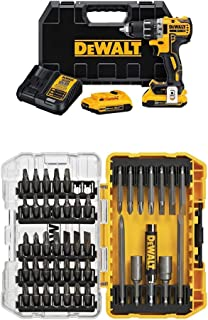 """DEWALT DCD791D2 20V MAX XR Li-Ion 0.5"""" 2.0Ah Brushless Compact Drill/Driver Kit with 45-Piece Screwdriving Set with Tough ..."""