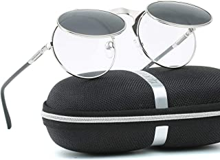 Retro Round 80`s Flip Up Steampunk Sunglasses Mirror Vintage Circle Sun Glasses Eyewear for Men Women