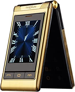 """G10 3.0"""" Double Dual Screen Dual SIM Card Long Standby Touch Screen FM Senior Phone Flip Mobile Phone for Old People (Gold)"""