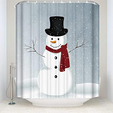 Amazon Com Collections Etc Snow Time Country Snowman Shower Curtain Home Kitchen
