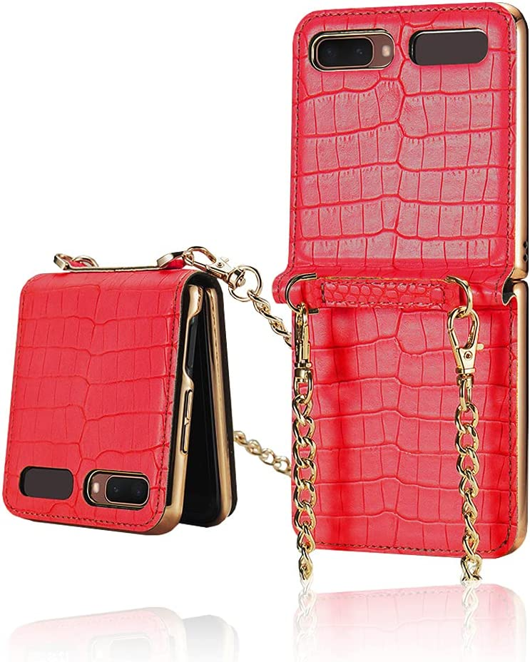 Yatchen Leather Case Designs Samsung Galaxy Z Flip,Cute Luxury Bag Design with Metal Chain for Women Crocodile Skin Cover Case with Makeup Mirror Magnetic Flip Protector for Galaxy Z Flip 5G (Red)
