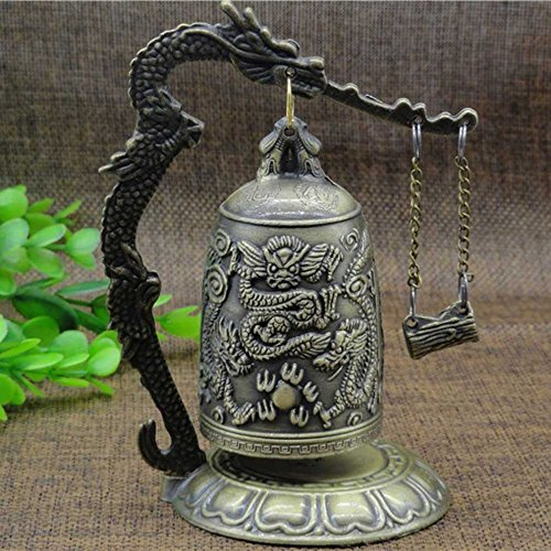 Vintage Style Dragon Bell Hang Decoration Buddhist Bell Ornament Good Luck Bell Bronze Lock Monk Home Office Decoration Artwork Type A