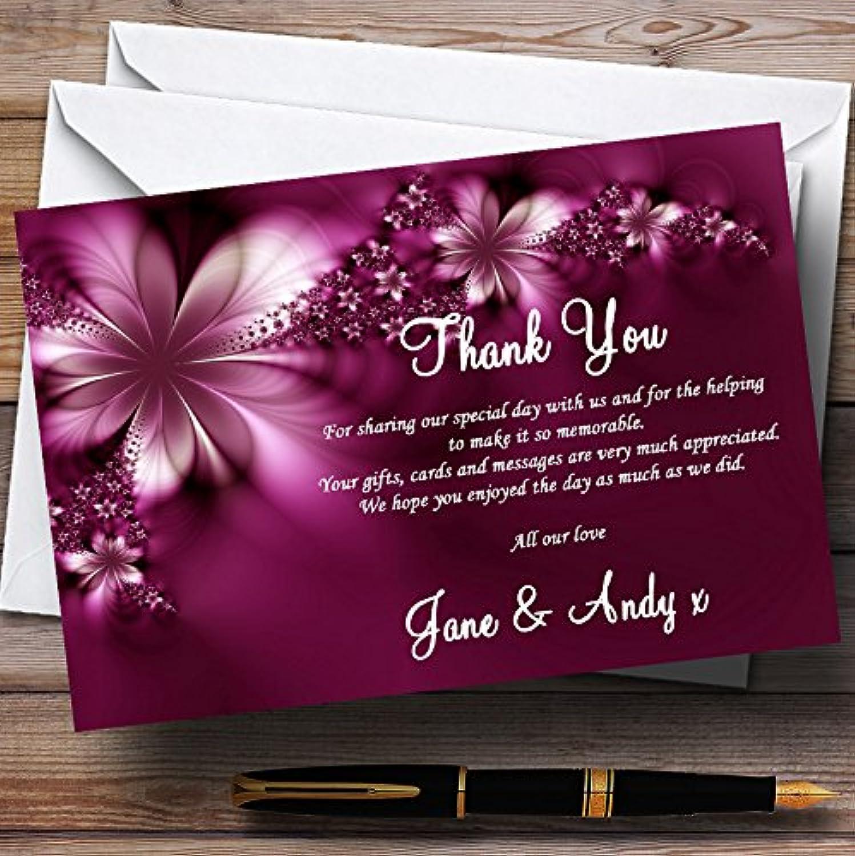 Beautiful Purple Personalised Wedding Stationery Thank You Cards