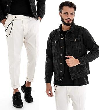 Giosal Outfit - Chaqueta Vaquera Negra para Hombre con ...