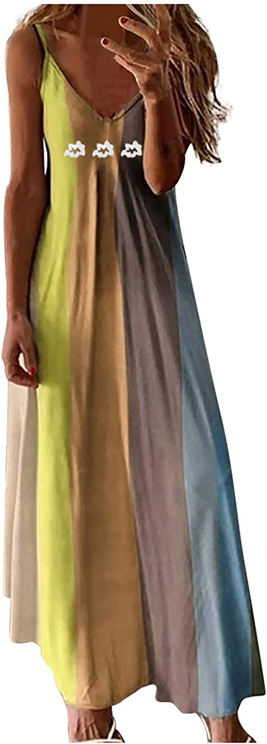 Dresses for Women Casual, Women's Fashion Daily Casual Camisole Sleeveless V-Neck Printed Maxi Tank Long Dress